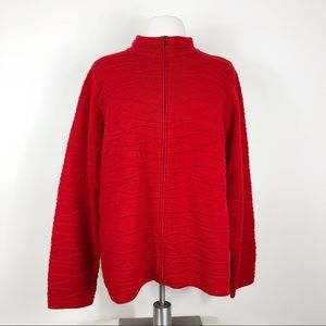 Coldwater Creek Textured Full Zip Red Sweater 3X